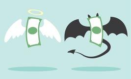 天使金钱和恶魔金钱 库存图片