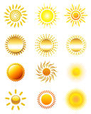 Значки Солнця Стоковые Изображения RF
