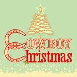 Рождественская открытка ковбоя с деревом текста и веревочки Стоковое Фото