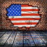 有美国国旗颜色的空的内部室 库存照片
