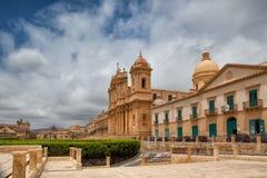 大教堂在老镇诺托,西西里岛,意大利 免版税图库摄影