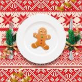 Πίνακας που θέτει για το γεύμα Χριστουγέννων Στοκ Εικόνες