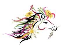 与花卉装饰的马头剪影的您 免版税库存照片