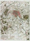 巴黎历史地图  免版税库存照片