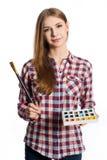 Молодая женщина художник. Стоковое Изображение
