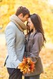 亲吻在秋天公园的浪漫夫妇 免版税库存图片