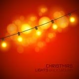 温暖的发光的圣诞灯 库存图片