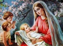 有孩子的耶稣保佑的玛丽 库存图片