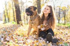 青少年的女孩和狗 免版税库存照片