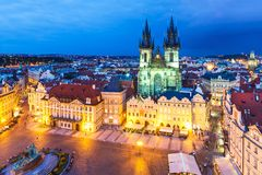 老镇中心在布拉格,捷克 图库摄影