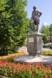 对亚历山大・瓦西里耶维奇・苏沃洛夫的纪念碑在诺夫哥罗德地区 库存图片