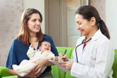 审查母亲的胳膊的儿童的医生新出生的婴孩 免版税库存照片