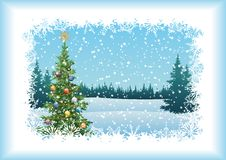 Ландшафт зимы с рождественской елкой Стоковые Фото
