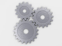 安置文本的金属齿轮 免版税库存图片