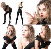 与年轻美丽的淫荡妇女的拼贴画组成由不同的图象被隔绝的 免版税库存照片