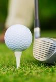 关闭高尔夫球看法在发球区域的 免版税库存图片
