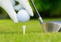 关闭高尔夫球看法在发球区域的 免版税库存照片