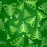 与圣诞树的无缝的背景 免版税库存图片