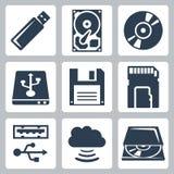 Διανυσματικά εικονίδια αποθήκευσης στοιχείων καθορισμένα Στοκ Εικόνα