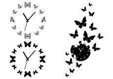 蝴蝶时钟,传染媒介集合 免版税库存照片