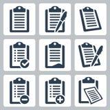 Установленные значки доски сзажимом для бумаги вектора Стоковые Фото