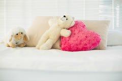 填充动物玩偶和说谎在长沙发的心脏枕头 免版税库存照片