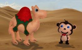Верблюд и обезьяна Стоковые Фото