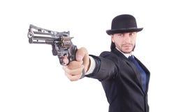 Άτομο με το πυροβόλο όπλο Στοκ εικόνες με δικαίωμα ελεύθερης χρήσης