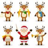 驯鹿圣诞节乐队集合 图库摄影