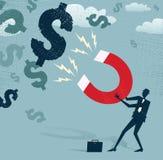 Абстрактный бизнесмен улавливает доллары Стоковые Изображения