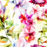 与美丽的花的无缝的样式 库存照片