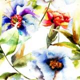 Безшовная картина с красивыми цветками Стоковая Фотография