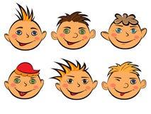 套六张滑稽的男孩面孔 库存照片