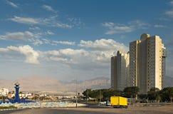 对埃拉特市,以色列的西部入口 库存图片