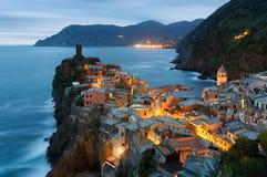 韦尔纳扎村庄在五乡地,意大利 库存图片