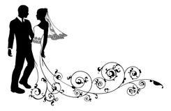 Силуэт жениха и невеста пар свадьбы Стоковые Фотографии RF