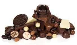 各种各样的巧克力,甜食物 免版税库存照片