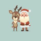 圣诞老人和圣诞节鹿 免版税库存照片