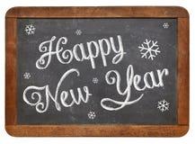 在黑板的新年快乐 库存照片