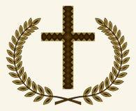 与月桂树的十字架 库存照片