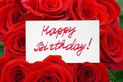 玫瑰和卡片生日快乐 免版税库存图片