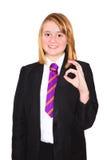 制服的资深女小学生 免版税库存照片