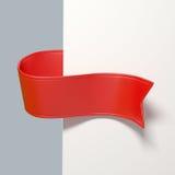τρισδιάστατη κόκκινη ετικέττα σελιδοδεικτών κορδελλών, στοιχείο σχεδίου Στοκ Εικόνες