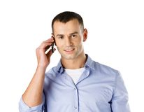 人谈话在手机 免版税库存照片