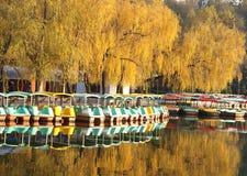 小船和秋天树 免版税库存照片