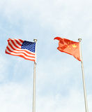 США и флаг Китая Стоковое Изображение RF