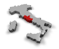 意大利拉齐奥的地图 免版税库存照片