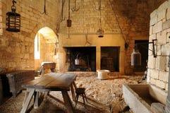 贝纳克中年城堡在多尔多涅省 库存图片
