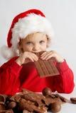 巧克力小的圣诞老人 免版税图库摄影