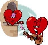 Иллюстрация шаржа песня о любви сердца Стоковая Фотография